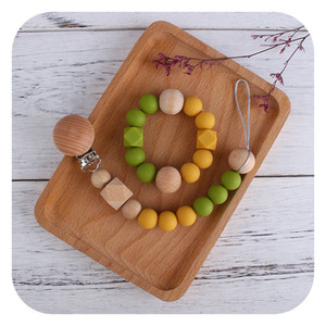 Beech Wood Octagonal Silicone Round Beads Toy Teether Molar Stick Bracelet Baby Safety Silicon Nipple Pacifier Chain Dummy Clips Holder