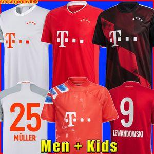 Bayern Monaco 20 21 Maglia da calcio LEWANDOWSKI SANE COMAN MULLER Maglia da calcio GNABRY DAVIES Uomo + divise kit per bambini MUNCHEN 2020 2021 razza umana quarto