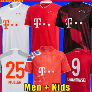 Bayern Munich 20 21 LEWANDOWSKI SANE camisa de futebol COMAN MULLER GNABRY DAVIES camisa de futebol masculino + infantil uniformes kit MUNCHEN 2020 2021 raça humana quarto 4º