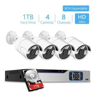 8/4CH 1080P Security CCTV System Kit DVR 4pcs 2MP Weatheroor Indoor Outdoor CCTV Camera videosorveglianza Kit 1TB HDD1
