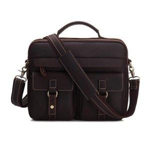 Vintage Crazy Horse Genuine Cowhide Leather Briefcase Cross Body Shoulder Sling Bag Handbag Business Office Bag For Male MS3905