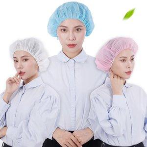 10pcs Disposable Non-Woven Hat Salon Hair Hat Anti Dust Net Bouffant Cap Elastic Cleaning Hair Protect Cap Head Cover