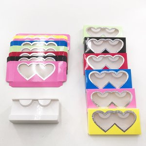 Cheap Soft Lash Box Colorful Heart Eyelash Case For 8mm-27mm Full Strip Mink Eyelashes Custom package