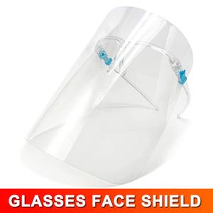 Безопасность Faceshield Прозрачный Clear ECO ПЭТ Прозрачный с Стеклянная рамка Пластиковый многоразовый защитный Anti-всплеск и туман Защитная маска Маска