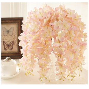 30PCS Artificial Hydrangea Wisteria Flower For DIY Wedding Arch Background Square Rattan Wall Hanging Basket Can Be Extension