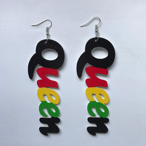 Black Queen Wood Africa Hollow Out Queen Letters Colorful Earrings Vintage Party African Afro Jewelry Wooden DIY Club Gift