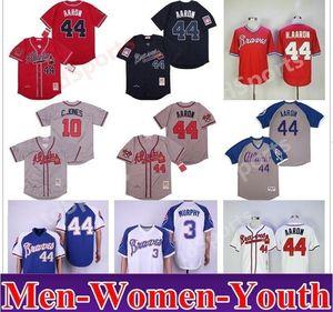 Atlanta Vintage Retro Hommes Femmes Enfants 44 H.aaron 3 Dale Murphy 10 Chipper Jones 1957 1963 1973 1974 Jerseys de 1982