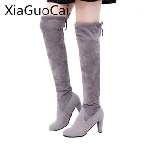 XiaGuoCai Winter Women Thigh High Boots Big Size 35-43 Female Long Boots Over-the-knee High Heels Stretch Fabric Z475 35
