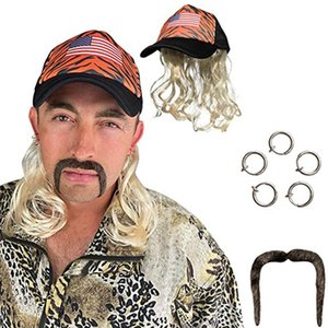 Fashion Exotic Cosplay Blonde Wig With Hat Clip Earrings And Mustache Fits Kids Adults Custom-Designed And Hand-Sewn