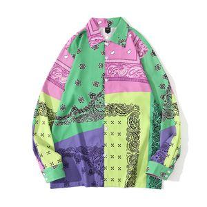 Icône sombre vert violet bandana patchwork chemise hommes hommes manches longues chemise hommes chemises j1216