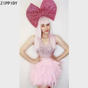 Pink Feather Rhinestones Backless MINI Dress Birthday Celebrate Spandex Dress Prom Party Women Singer Show