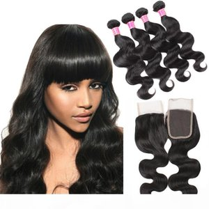 Wholesale Cheap 8A Brazilian Body Wave Human Hair Weaves Extensions 4 Bundles with Closure Free Middle 3 Part Double Weft Dyeable Bleachable