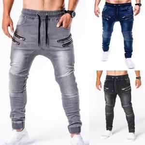 Джинсы для мужчин Новые высококачественные мужские сплошной цвет молнии декоративные штрихи тонкий хип-хоп Движение мужские джинсовые брюки
