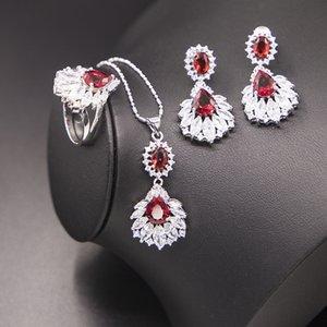 Nupcial Red Garnet Conjunto de Jóias 925 Colar da prata esterlina Anel Brincos Pingente Pulseira Caixa De Presente Com