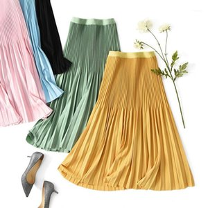 Röcke Koreanische Mode Kleidung Schwarz Plissee Rock Weibliche Hohe Taille Vielseitige Midi Elegante Frau Büro Lady1