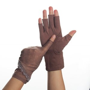Luvas metade Fingers Mulheres Verão stretch fino Fingerless condução Ice Silk Semi-Finger Anti-Slip protetor solar anti-UV Glove