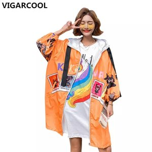 Tide brand women's 2020 spring new cartoon printed loose windbreaker women mid-length hooded cardigan thin coat tide coat Female