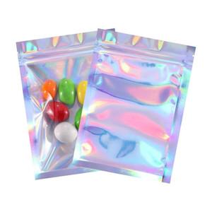 Almacenamiento de alimentos Ziplock Resellable Olor Bolsas para resolver bolsas de papel plana para joyería de caramelo Muestra de almacenamiento Packaging Packaging Láser Color Color Bolsa de regalo HH9-3716