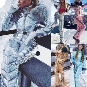 New Shiny Silver Gold One-Piece Ski Suit Women Waterproof Windproof Skiing Jumpsuit Snowboarding Suit Female Snow Costumes