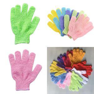 Luva Toalha de banho de tecido elástico Five Finger Washcloth Banho Wash limpo chuveiro Corpo Mittens Toalhas Multi Color 0 55qq G2