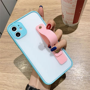 Wrist Strap Camera Protection Phone Case For iPhone 12 SE 2 11 11Pro Max XR XS Max X 7 8 Plus 12Pro Transparent Shockproof Cover