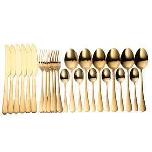 Tablewellware kitchen 24 Pcs spoon fork knife set Stainless Steel Cutlery Dinner Dinnerware Sets Tableware Box Gift Q0108