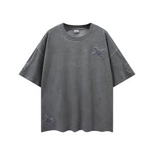 어두운 회색 패치 워크 빈티지 코튼 티셔츠 편안한 짧은 소매 Raglan Tops 힙합 티 스트리트웨어