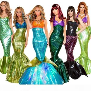 Halloween costume adult mermaid princess dress sequin cosplay suit sexy wrapped chest show evening dress 8 types