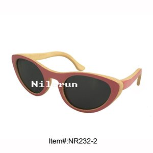 pequeño ojo de gato de color rosa bambú niñas gafas de sol de los niños
