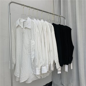 2020 autumn new stripe white shirt loose knit vest vest set women fashion brand new Europe and the United States