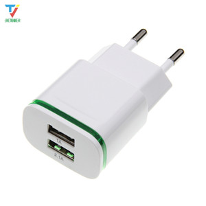 500pcs lot 5V 2A EU US Plug LED Light 2 USB Adapter Mobile Phone Wall Charger Device Micro Data Charging For iPhone 5 6 iPad Samsung