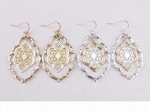 Unique Thanksgiving day Gifts Gold Silver Plated Two Tone Filigree Hollow Flower Statement Drop Earrings Christmas Jewelry for Girls