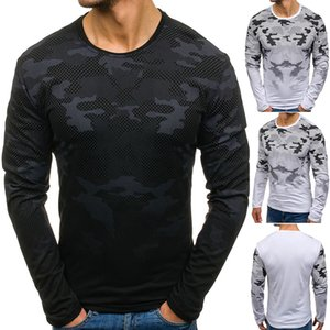 Mens Camouflage Long Sleeve Tshirt Crew Neck Slim Fit Tees Male Spring Autumn Clothes