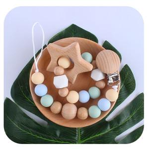2020 heiße Baby-Produkte Holz Spielzeug Beißring Karikatur-Tier Beißring Silikon Perlen Schnullerkette Natürliche Zahnen Grasping Clips Halter Ketten