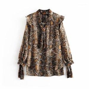 Qnpqyx mulheres serpente cintura cintura casual blusa blusa camisas mulheres luva longa arco chique blusas padrão padrão ruffles femininas tops1