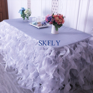 CL010JA popular many colors custom made wedding silver grey red blue organza curly willow table skirt 201007