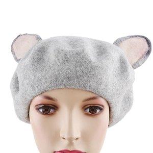 Spring Women Vintage Handmade Cat's Ear Hat True Real Woolen Warm Winter Beret 2020 Manual Wool Beret Fashion Cute Sweet Berets