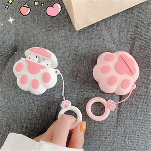3D Cartoon Cat Paw Design Wireless Bluetooth Earphone Case for AirPods 1st 2nd Generation for Apple AirPods 1 2 Cover Accessories 50pcs