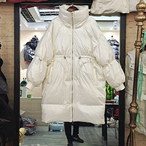 Down jacket women's 2020 winter wear new Korean medium and long style waist closing loose and thickened white duck down Maternity Coat