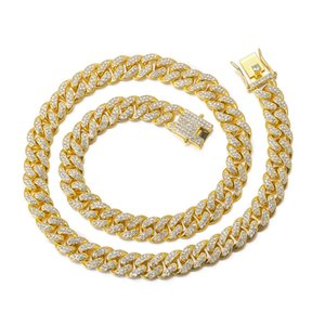 18k Gold Finish Iced Out Hip Hop CZ Miami Cuban Chain Necklace Thick Miami Cuban Link Chain Hip Hop NecklaceChristmas gift