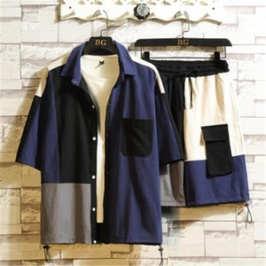 Designer Male Lapel Top Shorts Suits Man Panelled Contrast Tracksuits Fashion Summer Casual Loose Plus Size Short Sleeve Shirt Sets Clothing