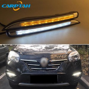 LED Daytime Running Light For Koleos 2011 - 2014 Waterproof 12V Yellow Turn Signal Indicator Light Bumper Lamp LED DRL