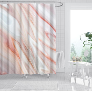 Waterproof Simple Light Pattern Line Single Printing Shower Curtain Polyester for Bathroom Decor with 12Hooks cortinas de bano