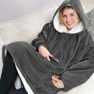 Главная рукава Толстовка носимого Throw, Крупногабаритные руно пуловер с Карман Hoodie Одеяло для мужчин, женщин