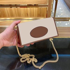 Il nuovo modo raccoglitore della catena di spalla della borsa per le donne progettista cuoio di alta qualità della tela di canapa Brown Hasp Small Change Crossbody Borse
