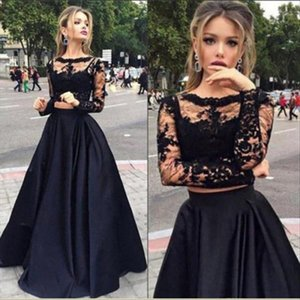 2019 New Black Long Skirt 2pcs Sexy Women Elegant Formal Prom Long Dress Evening Party Lace Tops Long Maxi Ball Gown Skirt