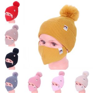 DHL Shipping Pompom Hat Thick Warm Knitting Cap Washable Outdoor Face Mask for Children Windproof Masks Winter Skull Hat Kimter-L776FA