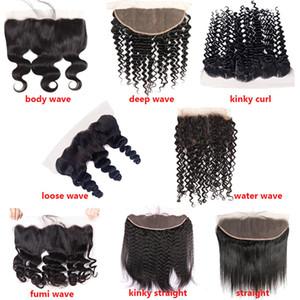 WendyHair Virgin Human Hair Bundles with frontal 13 * 4 HD Trasparente in pizzo svizzero in pizzo precipitato Parte senza pizzicata Parte media parte Tre Parte Capelli per bambini