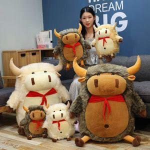 toy calf plush Cute cloth yak 2021 year mascot king of the ox doll