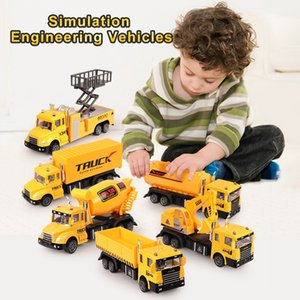 6 Pcs Set Pull back Inertial Glide Truck Engineering Car Model Diecast Vehicle Construction Carrier Toy Car for Boys Kidsq1221 Q0112